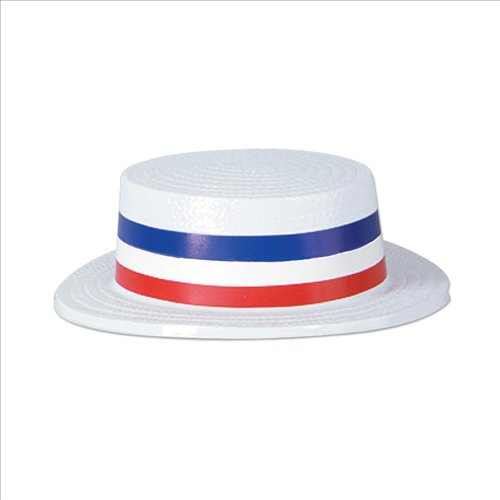 Star Power Patriotic Boater Skimmer Costume Hat Red White Blue One Size