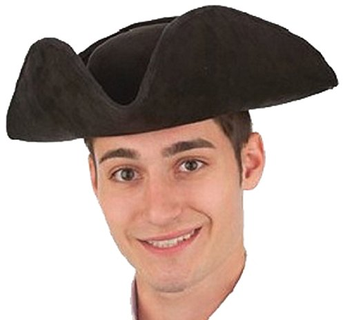 Suede Pirate Hat (Costume Accessory Unisex Adult Faux Suede Tricorne Colonial Hat (Black))