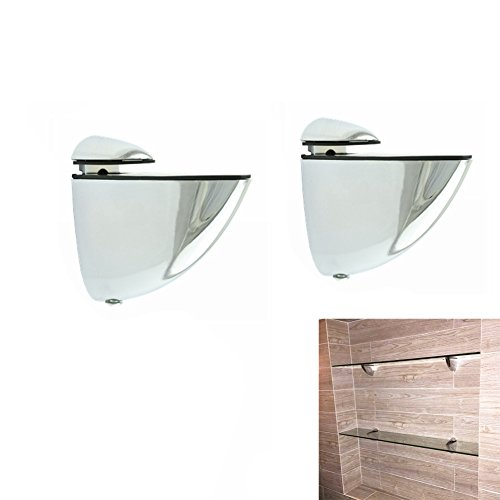 Metal Adjustable Wood/Glass Shelf Bracket Wall Mount 2 Pcs or One Pair, Polished Chrome