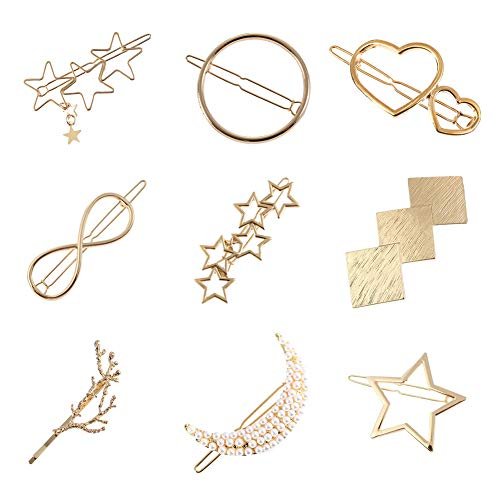 Women Lady Girl Gold Minimalist Bowknot Oval Circle Moon Star Pearl Hair Clip Snap Barrette Comb Stick Claw Crab Clamp Hairpin ()