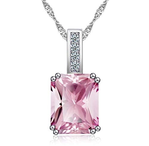 Eliana and Eli 3.0 Ct. Simulated Pink Crystal August Birthstone Pretty in Pink Silver Pendant Necklaces-Gift for - Sterling 3 Necklace Silver Stone