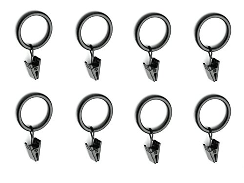 (30 Total) Chrome Metal Curtain Rings with Clips (1.25