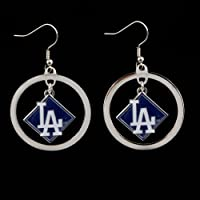 MLB Los Angeles Dodgers Floating Logo Hoop Earrings