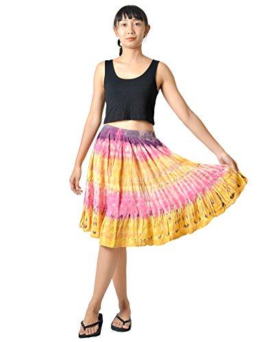 (Orient Trail Women's Hippie Bohemian Boho Tie Dye Knee Length Mini Skirt Small Earth Yellow)
