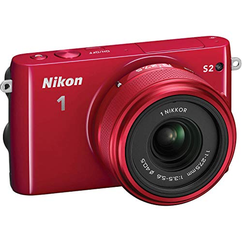 Nikon 1 S2 Mirrorless 14.2MP Digital Camera with 11-27.5mm Lens (Red) - (Renewed)