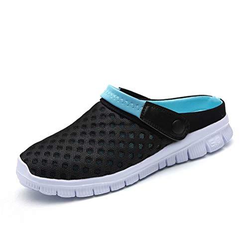 QISHENG Men's Women's Garden Clog Shoes Fashion Mesh Sandals Lightweight Quick Drying Walking Slippers Blue