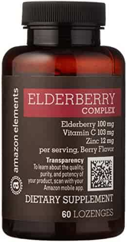 Amazon Brand - Amazon Elements Elderberry Complex, 60 Berry Flavored Lozenges, Elderberry 100mg, Vitamin C 103mg, Zinc 12mg, up to a 2 month supply