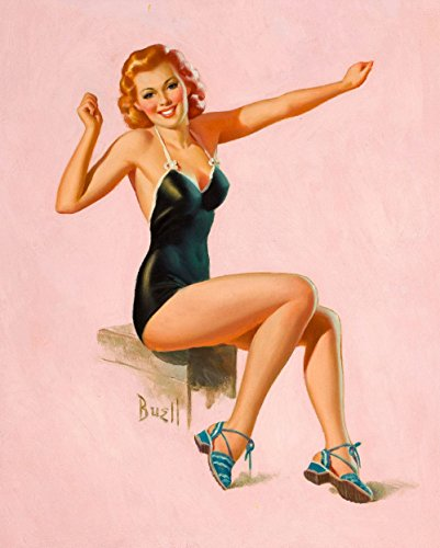 Pin-Up Girl Wall Decal Poster Sticker - Seated Redhead in Swimsuit - Red Hair Pinup Decal Stickers and Mural for your home and business. Vintage Wall Art for Room Decor and Decoration - Pin Up Poster Mural