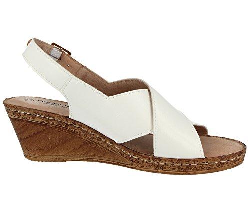 semelles à lanières pour compensées Sandales Cushion 42 A03 cuir 35 femme larges White Chaussures Pointure 5 ouvertes d'été et Walk doublure qOxvwP