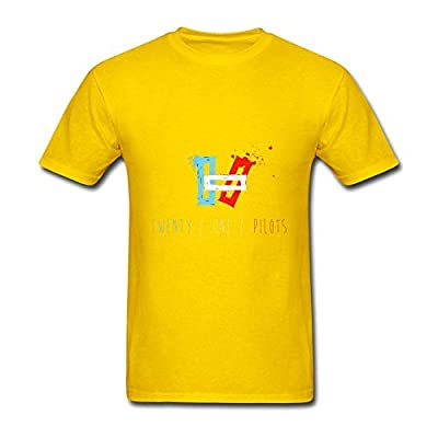 Guwmi Men's Twenty One Pilots Art T Shirt Yellow L