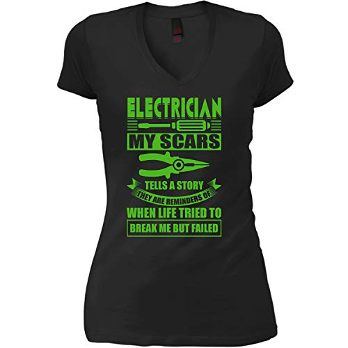 COLOSTORE My Electrician Women's V-Neck Tee, My Scars Tells A Story T Shirt-Women V-Neck (M, Black)