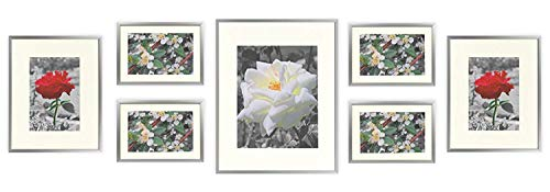 (Golden State Art, Set of 7 Frames, Aluminum Metal Photo Frames with Ivory Color Mat & Real Glass, Color:)