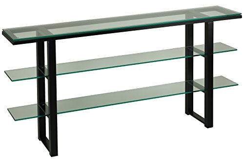 Cortesi Home CH-AT656939 Rozo Contemporary Three Tier Glass Console Table, Black