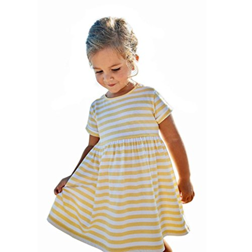 vermers Toddler Kids Clothes, Baby Girls Summer Striped Dresses - Short Sleeve Princess Dress(24M, Yellow)]()