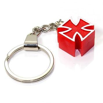 Amazon.com: 3d Red cruz de hierro Llavero Anillo Fob para ...