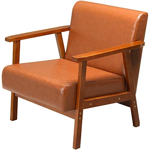 EPHEX Mid-Century Retro Modern Accent Chair, Armchairs for Living Room, Faux Leather Upholstered Wooden Lounge Chair