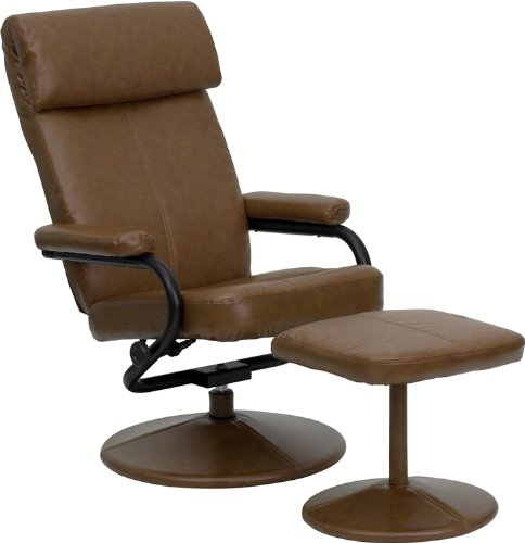 Flash Furniture Contemporary Palomino Leather Recliner and Ottoman with Leather Wrapped Base ()