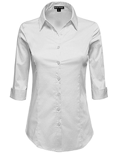MAYSIX APPAREL Womens 3/4 Sleeve Stretchy Button Down Collar Office Formal Shirt Blouse WHITE XL