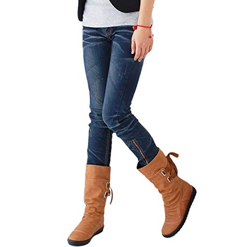 (Maybest Women's Winter Back Lace up Boot Mid Calf Snow Boots Brown 3 M)