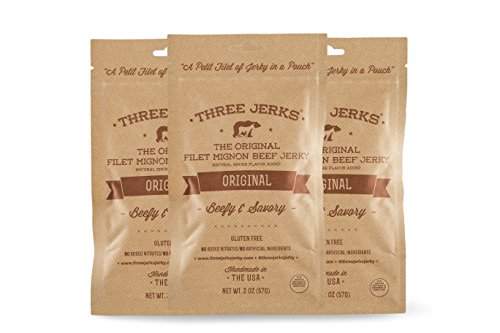 Three Jerks High Protein Filet Mignon Beef Jerky, Original, Pack of 3