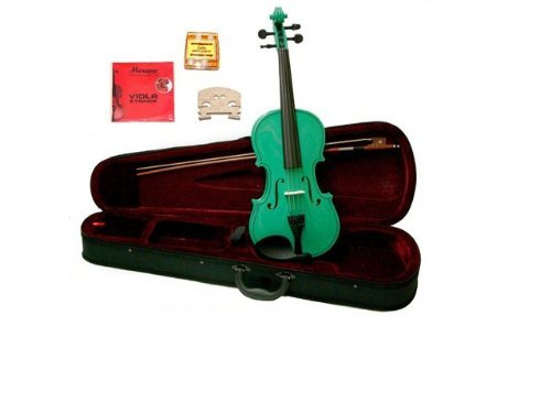 GRACE 15 inch Green Student Viola with Case, Bow+2 Sets Strings+2 Bridges+Pitch Pipe+Rosin by Grace