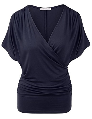 Plaid Smocked Top Dress (zenicham Women V-Neck Smocked Empire Waist Tank Batwing Top Breastfeeding Top)