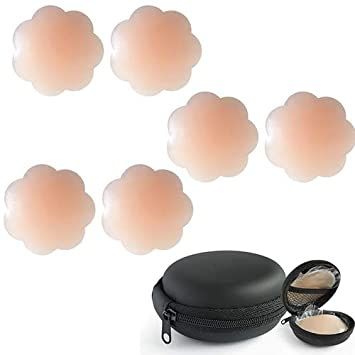 Adhesive Silicone Pasties for Women Nipple Covers Reusable with Carry Case