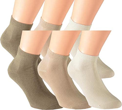 Vitasox Chaussettes sneakers femme en coton sans couture unies 6 ou 12 paires