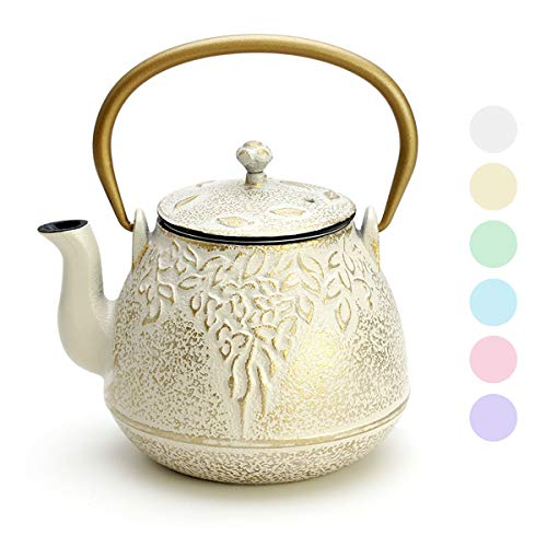Cast Iron Tea Kettle, TOPTIER Japanese Cast Iron Tea Kettle with Infuser, Cast Iron Teapot Stovetop Safe, Leaf Design Tea Kettle Coated with Enameled Interior for 32 Ounce (950 ml), Warm Beige