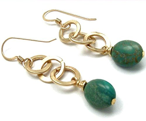 Green Turquoise Earrings 14kt Gold Filled Dangle Handcrafted Circle Links Semi Precious Gemstone (Handcrafted Link)