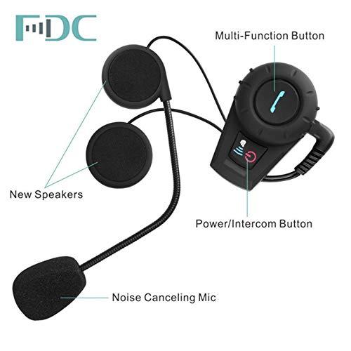 BEESCLOVER Casque de Moto Bluetooth Interphone BT Interphone Radio FM Standard sans Prise de Charge