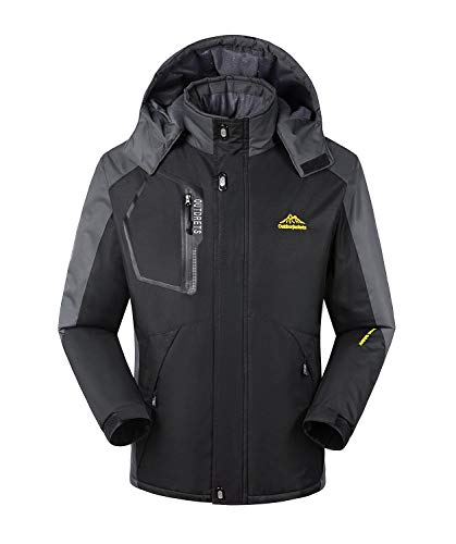 TBMPOY Men's Waterproof Winter Ski Jacket Outdoor Mountain Windproof Fleece Coat
