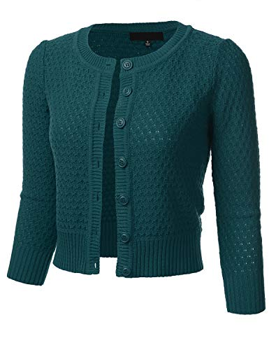 Women's Button Down 3/4 Sleeve Crew Neck Cotton Knit Cropped Cardigan Sweater Peacock ()