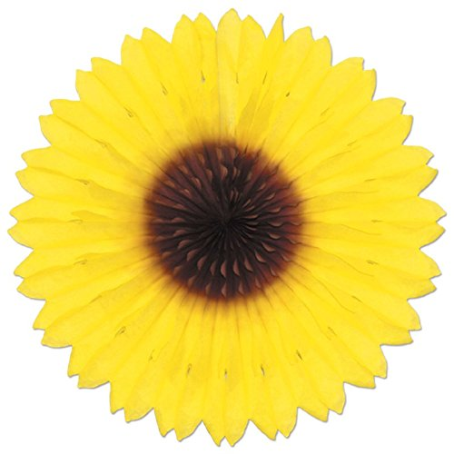 Pack of 12 Colorful Sunflower Hanging Tissue Paper Fan Party Decorations 18