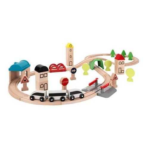 Ikea 203.300.66 LILLABO Eisenbahn-Set mit Schienen 45-tlg