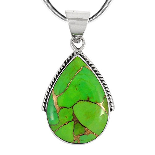 Green Turquoise Pendant Necklace in Sterling Silver 925 (Select Style) (Acorn)