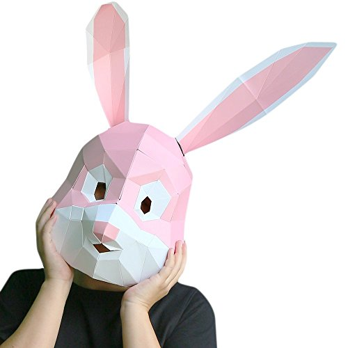 3D Paper Mask Animal Head Molds DIY Halloween Party Costume Cosplay Facial Paper-Craft Kit (Pink Rabbit)