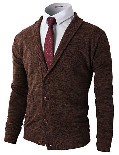 H2H Mens Basic Shawl Collar Knitted Cardigan Sweaters with Ribbing Edge Darkbrown US XL/Asia XXL -