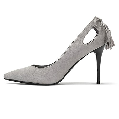 Discoteca Arcos UK EU Daphne Gray145 Boda Mujer snfgoij Trabajo Zapatos La Fiesta Negro 34 Corte 2 Tacones Altos Elegante Moda Zapatos 9cm Sexy Borla De UgqCZwg