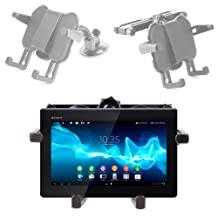 DURAGADGET 2 in 1 Adjustable Headrest and Car Windshield Support Plus Removable Mounts For Sony Xperia Tablet Z SGP311U1/B 10.1-Inch 16GB Tablet