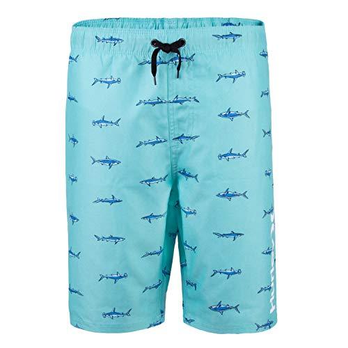 Hurley Boys' Big Pull On Board Shorts, Tropical Twist Shark Print M