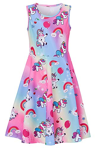 Girls Rainbow Romper Dresses Animal Zoo Kawaii Horse Graphics Maxi Knee Length Lace Sewing Jumper Dress-up With Sleeveless Yellow Purple Formal Dress in Prom First Communion for Size 10-12 13t 14t 16t]()