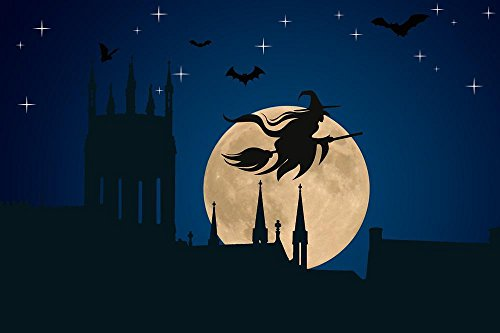 Gifts Delight Laminated 36x24 inches Poster: Halloween The Witch Hexenbesen Moon Star Magic Night Broom Castle Tower Fly Bats Microchiroptera Creepy Occultism Secret Weird Scene Surreal -