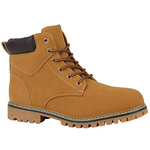 Stiefelparadies Herren Worker Boots Profilsohle Stiefeletten Gefütterte Outdoor Schuhe Schnürboots Wildleder-Optik Nieten Camouflage Flandell Hellbraun Braun Avelar