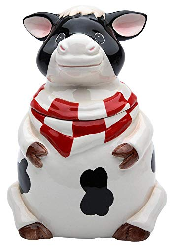 Cosmos Gifts 61759 Fine Ceramic Barnyard Milk Cow with Red Checkered Bandana Candy Jar, 6-3/4