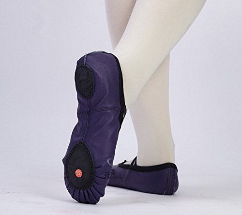Dance Genuine Slippers Skin Purple Womens Pig Black Gym Shoes Leather Ballet R5nY1t