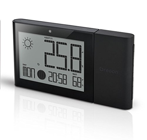 Oregon Scientific Wireless Remote - Oregon Scientific Weather Station with Indoor/Outdoor Temp and Humidity Atomic Clock BAR268GH (Black)