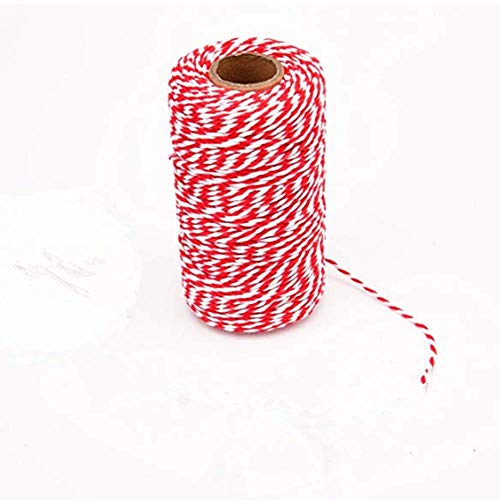 Dutch house 2mm Double Color Cotton Twine, Christmas Wreath Cotton Rope Rope Gift wrap, Art Crafts, Kitchen Bread wrap (654 ft / 2 Rolls)