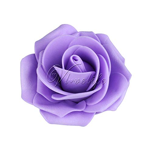 XGM GOU 50Pcs PE Foam Rose Flower Head 7CM Artificial Rose Flowers Bouquet Handmade Wedding Home Decoration Festive & Party Scrapbook Lavender