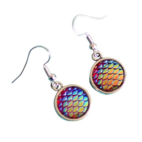 Stylish Round Mermaid Scale Earrings Lively Color Dangle Earrings for Women's Perfect Gifts - Mermaid Dangle
